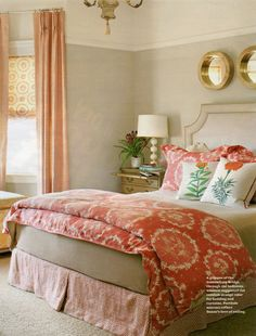 Another gorgeous coral bedroom...with a green wall color
