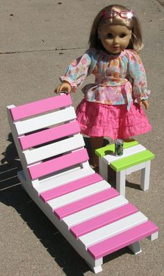 "American Girl sized furniture - Summer Lounge Chair / Beach Chair / Lawn Chair with Side Table for 18"" dolls"