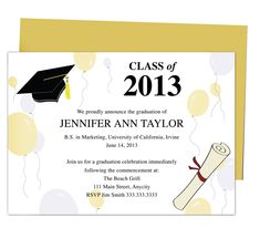 Printable DIY Templates For Grad Announcements : Partytime Graduation Announcement Template. Edit with Word, Publisher, Apple iWork Pages, OpenOffice