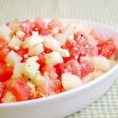 Watermelon / Cucumber Salad 3 cups peeled and cubed (1/2 inch) English ...