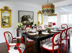 elephants, dining rooms, mirrors, red, dine room, colors, design interiors, dining chairs, light