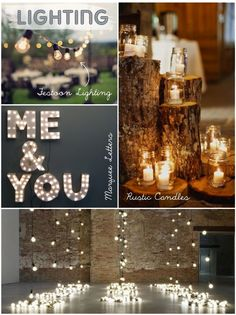 Wedding lighting with festoon lights, rustic candles and marquee letters.