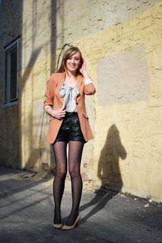 Polka dots, shorts+tights, and an adorable blazer.
