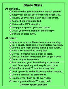 Study Skills Progress Card