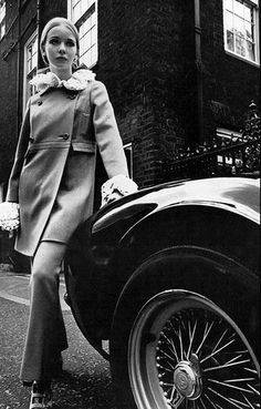 Maudie James in long Regency-style jacket and pants, photo by Jeanloup Sieff, Vogue UK Sept. 1966