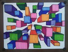 One Point Perspective - 8th grade Art Appreciation. Art teacher Jennifer Lipsey Edwards.