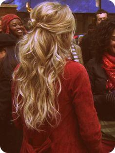 idea, makeup, curl, wave, half, hair style, beauti, hairstyl, pretti