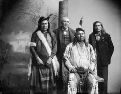 Standing L-R: Unknown (Nez Perce), Benjamin F. Beveridge, unknown (Nez Perce) Sitting: Joseph II (Nez Perce) – 1897 no location