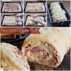 yummi shit, reuben pizza roll, appet, foods, pizzas, recip, pizza rolls, reuben roll, irish roll