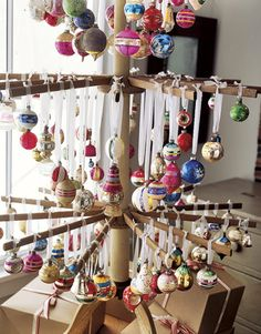 Vintage Glass Ornaments. cool idea to display vintage ornaments.