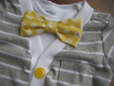 Boys Short Sleeve Cardigan and Bow Tie Set, Grey Cardigan, Yellow Bow Tie