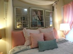 shabby chic apartment | Shabby chic bedroom.college apartment | decorations apartment decorations, headboard, living rooms, guest bedrooms, framed mirrors, old windows, window panes, living room walls, shabby chic bedrooms
