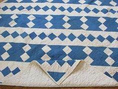 Gorgeous Antique c1920 Blue and White Jacobs Ladder Quilt | eBay Vintageblessings