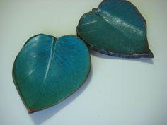 Turquoise Pottery Leaf Soap Dish by NancyBloklandPottery on Etsy, $16.00