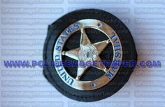 US Marshal badge (Silver) WITH belt/neck recess holder. Available from www.policebadgetrader.com