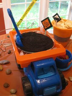 Dirt cake at construction themed party.