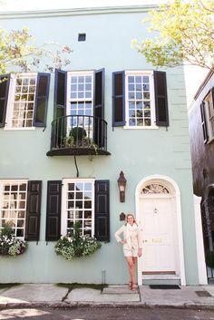 Love the black shutters, aqua color.