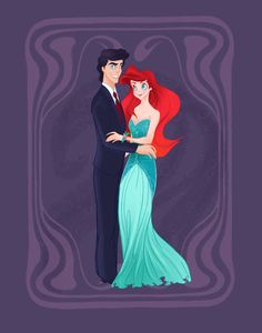 Prom Ariel: Love these Disney prince and princess prom poses! Illustration by spicysteweddemon