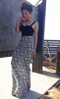 crop top with high-waisted maxi skirt