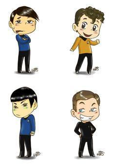Kirk, Bones, Spock and Chekov Star Trek 2009 Magnet Set