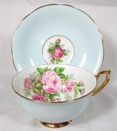 Windsor Pink Roses Blue Background Cup Saucer