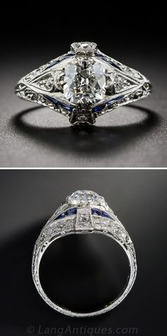This stunning and sophisticated original Art Deco diamond engagement