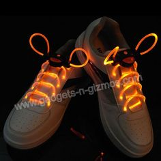 LED Bright Light Up Flashing Waterproof Shoelaces Glow In The Dark-Orange