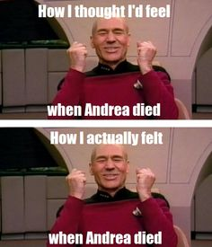 Walking Dead zombies Andrea LOL meme funny  YES!!!!!!! I did a happy dance and my husband looked at me like I had grown 8 tentacles and a hundred eyeballs on my head.