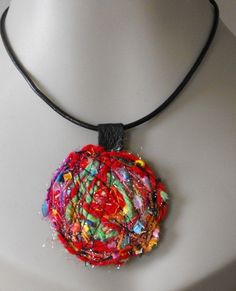 Fibre Art Recycled Leather Pendant by MaggiesInn on Etsy, $10.00