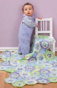 Red Heart® Baby TLC™ Hexagon Baby Blanket #crochet #pattern