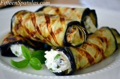 Grilled eggplant rolled with ricotta and basil.