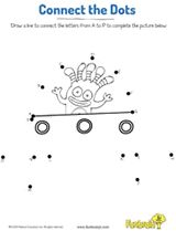 Connect the dots in alphabetical order to complete the picture. #prek #printables #alphabet #earlylearning #coloringpages