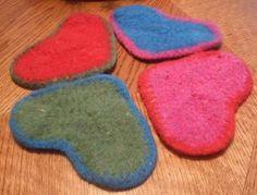 felted heart coasters (make in mug rug size?)