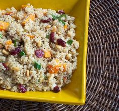 Sweet and Crunchy Quinoa salad with sweet potatoes and cranberries