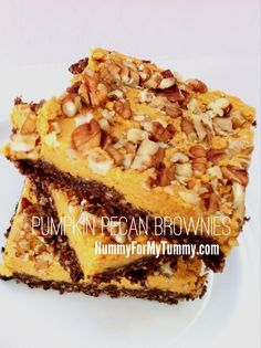 Raw, vegetarian and gluten-free NO BAKE pumpkin pecan brownies that can be made in no time at all to curb any dessert craving.