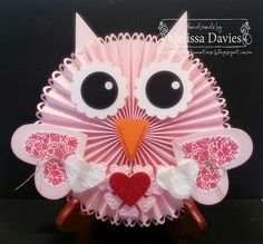 valentin owl, paper craft, papercraft, melissa davi, valentin idea, owl card, bird card, owls, craft info