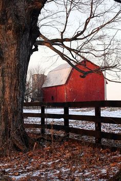 Wintertime red barn