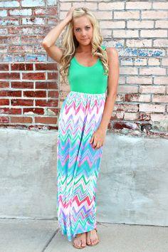 <3 pastel chevron maxi dress