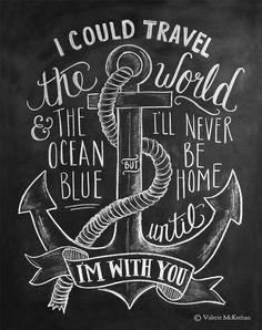 Nautical Print - Travel Print - Chalkboard Art - Anchor Illustration - Nautical Decor - Hand Lettered Print
