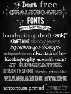 Free Chalkboard Fonts ~ jenni from the blog
