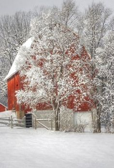 Red barn and snow.