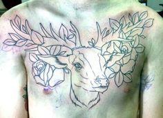 deer tattoo #roses #deer #tattoo