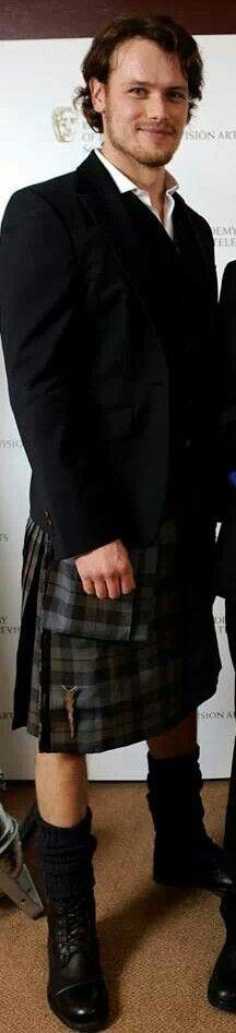 Sam Heughan aka Jamie Fraser - Oooooooooooooooooooohhhhhhhh YES! Yummy indeed! Love that expression! Such a cutey! Jamie Fraser Outlander, Clair, Sam Heughan Outlander, Kilt, Outlandish Complex, Diana Gabaldon, Sam Bafta, Heughan Aka, Jami Fraser