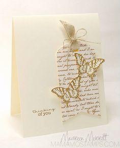 Stamps:  Papillon Potpourri (SU!) Sentiment (MFT) Ink:  Soft Suede (SU!) Paper:  Very Vanilla  (SU!)  PP (PTI) Accessories:  Ribbon & Linen Thread (SU!)