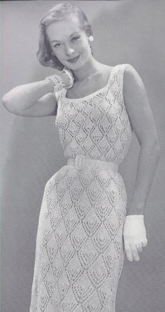 dress patterns, crochet fashion, vintage knitting, knitted evening gown pattern, 1950s, knitting patterns, vintag knit, knit pattern, crochet dress