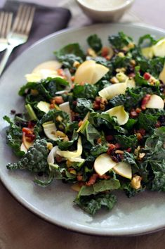 Kale, Apple, and Pancetta Salad with Maple-Walnut Dressing #vegan #glutenfree #foodporn #cleanfood #healthy #healthysurprise #nutrition #soyfree #whatveganseat