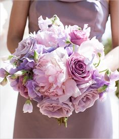 A beautiful bouquet of purple, lavender, and violet. Perfect for a romantic, outdoor wedding.