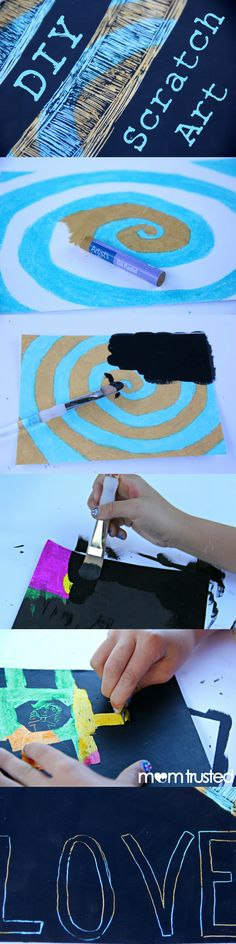 DIY Scratch Art Paper - It's super easy and you can make it in any color and pattern you can think of.  LOVE IT!