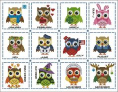 year round, crossstitch, mini collect, owl, cross stitch charts