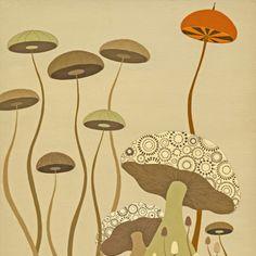 art stuff, wood print, wood art, melissa moss, modern art, moss art, guy wood, art prints, mushrooms